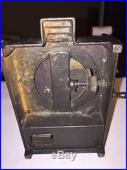 H L Judd Dog on Turntable Bank Cast Iron Mechanical Bank circa 1895