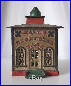 Hall's Excelsior Antique Cast Iron Mechanical Bank, J & E Stevens Co. Pat 1869