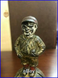 Hubley Cast Iron American & National League Mascot Baseball Antique Coin Bank