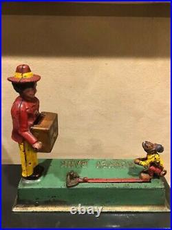 Hubley cast iron monkey organ grinder mechanical bank nice orig