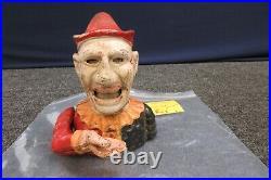 Humpty Dumpty Clown Cast Iron Metal Coin Piggy Bank Mechanical Antique