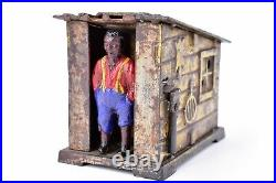 JE Stevens Painted Cast Iron Mechanical Coin Bank Cabin Toy 1885