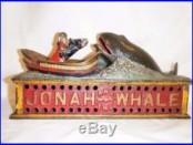 JONAH AND THE WHALE ORIGINAL 1890 SHEPARD HARDWARE CAST IRON MECHANICAL BANK