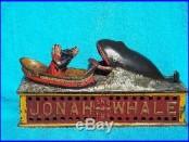 JONAH MECHANICAL BANK CAST IRON ANTIQUE TOY BANK SHEPARD HARDWARE