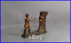J&E Antique Teddy & The Bear Cast Iron Mechanical Bank RARE EX