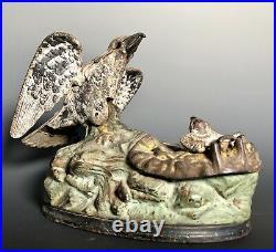 J&E STEVENS 1883 EAGLE & EAGLETS MECHANICAL CAST IRON BANK Bird
