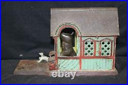 J. &E. STEVENS Vintage ex. Cond. Mule Entering Barn cast iron mechanical bank