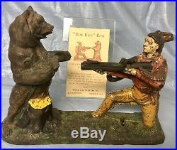 J. E. Stevens Cast Iron Indian and Bear Mechanical Bank