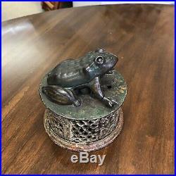 J&E Stevens Cast Iron Mechanical Frog Bank Patented 1872