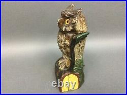 J E Stevens Cast Iron Owl Bank, Mechanical, Antique, 1880 Original NICE