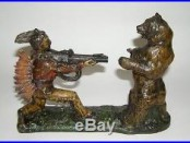 J & E Stevens Indian Shooting Bear Cast Iron Mechanical Bank NO RES (DAKOTApaul)