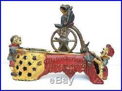 J & E Stevens Professor Pugs Frog's Bicycle Feat Cast Iron Mechanical Bank