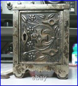 J. E. Stevens Safe Lock No. 50 Pat Aug. 24, 1897 Nickel Plate Cast Iron Bank Key