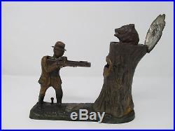 J. & E. Stevens Teddy And The Bear Circa 1907 Cast Iron Bank