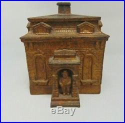Judd Antique Cast Iron Home Bank Man in Portico