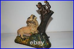 Keyser & Rex Lion & Monkeys Cast Iron Mechanical Bank, Nice First Paint No Reser