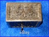 Kodak Bank Cast Iron Safe Bank Nickel Plated Working Lock & Key Gold Coins Bills