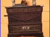 Kyser & Rex Cast Iron Organ bank MONKEY Cat & Dog Mechanical PAT. JUNE 13 1882