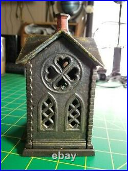 Kyser & Rex Cast Iron Villa Church Still Bank Antique 1882