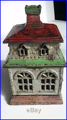 Large Antique Cast Iron CITY BANK with CHIMNEY made in US ca1873 books 4 $3000