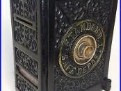 Large RARE Antique Cast Iron STANDARD SAFE DEPOSIT Combination Bank ca. 1890s