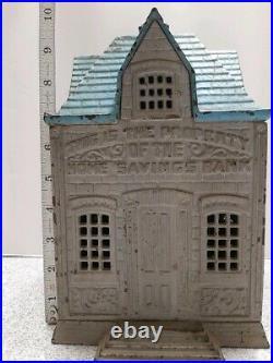 Large antique cast iron still bank building