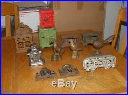 Lot Of 12 Cast Iron Banks Door Stop Passenger Car Kenton Safes House Animals