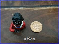 Miniature V. RARE Antique Cast Iron Mechanical Jolly Bank (Sambo Bank) Americana