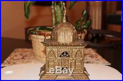 Mosque Bank Cast Iron Mechanical Bank H L Judd Mfg. Co, Gold Wash Version