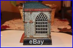 Multiplying Bank Cast Iron Still Bank J & E Stevens, Circa 1890 Red/White/Blue