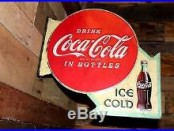 NEW COCA COLA Two Sided Arrow Wall Mount Sign vintage Style Soda Fountain Bottle