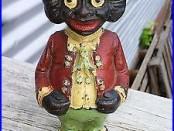 Nice Original Antique Black Americana Cast Iron Figural Still Bank Rare