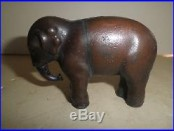 Nice old original cast iron Elephant with Swivel Trunk still bank c. 1900
