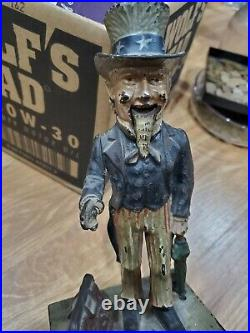 ORIGINAL Antique Cast Iron Uncle Sam Mechanical Bank Shepard MISSING BACK