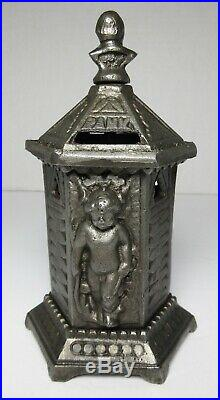 ORIGINAL Antique SPACE HEATER CUPID CAST IRON BANK 19th Century England