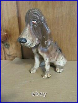 Old Cast Iron Bloodhound Blood Hound Dog Bank