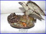 Old J. & E. Stevens Original Painted Cast Iron Eagle & Eaglets Mechanical Bank