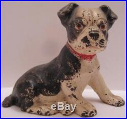 Old Unusual Antique Hubley Cast Iron Boston Terrier Sitting Dog Coin Bank