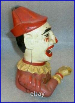 Old original cast iron Humpty Dumpty clown mechanical bank