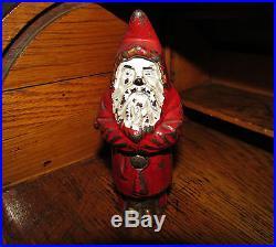 Original 1890's Antique Vtg Cast Iron Hubley Toy Santa Still Penny Bank withPin