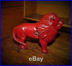 Original 1900 Antique Vtg Arcade Cast Iron Lion Penny Bank Turn Pin Gift Idea