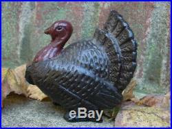 Original Antique A. C. Williams Cast Iron Turkey Still Penny Bank EXCELLENT