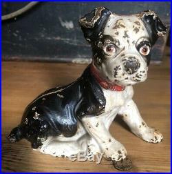 Original Antique Cast Iron Hubley Sitting Boston Terrier Puppy Dog Still Bank