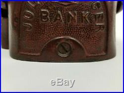 Original Antique Cast Iron Jolly Mechanical Coin Bank Toy By John Harper C. 1890