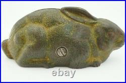 Original Antique Vintage AC Williams Cast Iron Rabbit Lying Down Bunny Coin Bank
