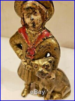 Original Antique Vtg AC Williams Cast Iron Buster Brown Tige Still Penny Bank NR