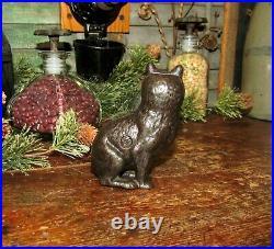 Original Antique Vtg Arcade Cast Iron 1912 Seated Cat Fine Lines Penny Bank