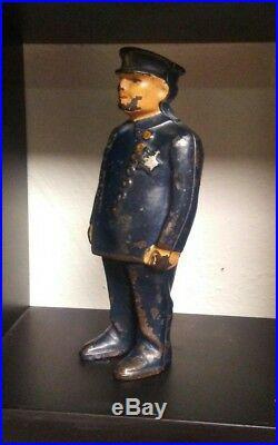 Original Antique Vtg Arcade Cast Iron Policeman Cop KaZowee Still Penny Bank