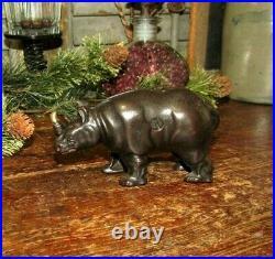 Original Antique Vtg Arcade Cast Iron Rhino Rhinoceros Still Penny Bank Scares