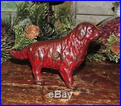 Original Antique Vtg Cast Iron Dime Store Arcade Newfoundland Dog Penny Bank